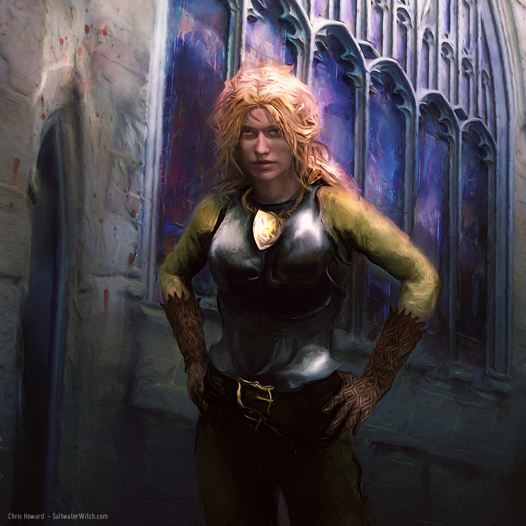 Sergeant Angua of the Ankh Morpork City Watch. She's one of my favorite characters in Terry Pratchett's Discworld books. Delphine Angua von Überwald is the only werewolf in the Watch–that we know of.